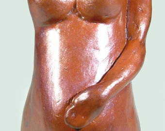 "figurative sculpture red purple ""Pregnant"" - unique piece - sold"