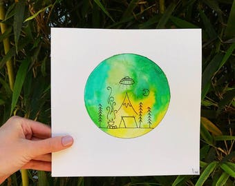 """Green, Yellow, & Teal """"Aliens Go Camping"""" Watercolor Wall Art"""