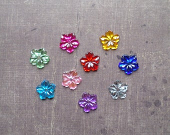 Lot 50 rhinestone beautiful flower 1.2 cm mix colors