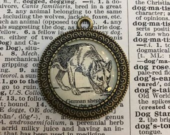 Handmade Vintage Dictionary Dog Necklace - German Shepard