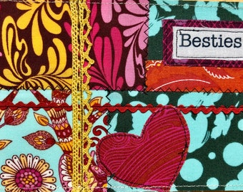 Quilted postcard - besties