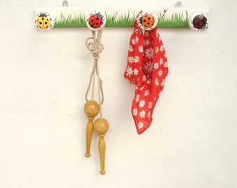 "Coat rack 4 hooks ""Ladybug ladies"""