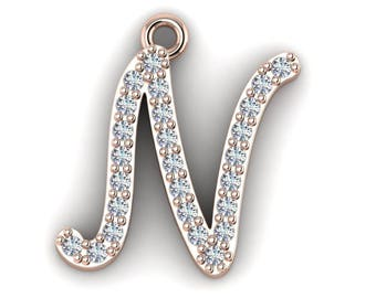 "Initial ""N"" Pendant with 16-inch Length Cable Chain"