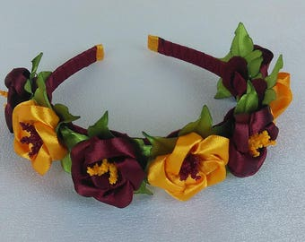 Headband with red and yellow/tiara/accessory hair/Kanzashi/woman/girl/Ribbon satin flowers