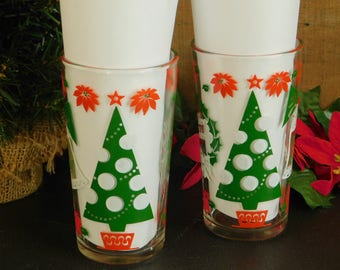 2 Vintage Hazel Atlas Happy New Year Merry Christmas Glass, Holiday Drinkware Glassware, Red, Green, White, Christmas Tree, Wreath, Bell