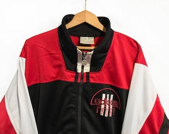 RARE Vintage 90'S Adidas Sport Trefoil Windbreaker Tracksuit Top Jacket Multicolor Black/White/Red/ Size S D4