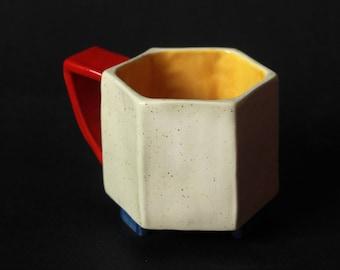 Bauhaus inspired hexagonal mug