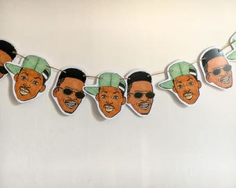 Fresh Prince of Bel Air print, Fresh Prince and Jazzy Jeff bunting, perfect gift for 90's fans, pack comes with 10 pieces and string