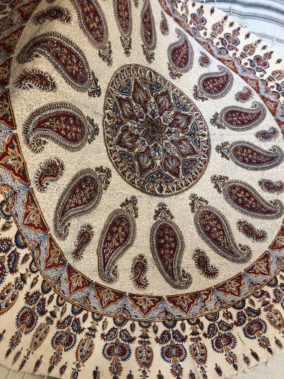 """Traditional 60"""" inches round tablecloth , block printed circle paisley tapestry , natural dyes with tassels"""