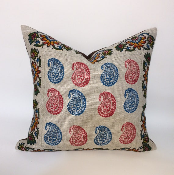 "Irish linen pillow  with traditional block printed paisley design| decorative cushions| linen pillowcase 18""x18""