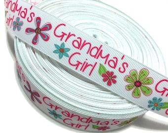 """1"""" Grandmas Girl Ribbon, Grandmas Grosgrain Ribbon, Grandmas Ribbon"""