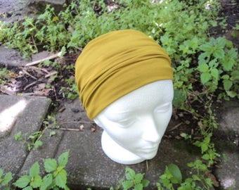 Extra wide yellow headband. Workout headband, yoga. Accessory hair, girl or woman.