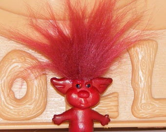"Troll Doll Jewelry, Red Troll Doll Resin Brooch, Pin, 1.5"" H, Dark Red Hair"