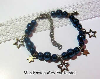 1 kit Bracelet medley of blue beads, electroplate and star charms star bronze KIT802
