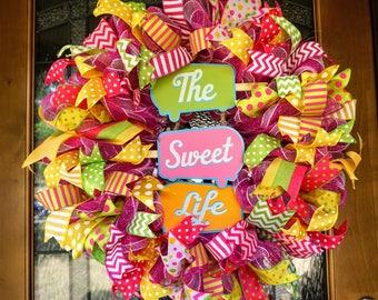Popsicle Wreath, Summer Wreath, Summer Mesh Wreath, Spring Wreath, Spring Mesh Wreath, Summer Door Hanger, Popsicle Door Hanger