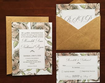 Wedding Invitation and RSVP Set - Dog rose
