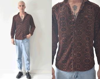 vintage Corduroy Button Up Brown Aztec shirt/ Unique Mens Button Up Shirt