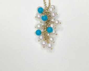 Vintage Tiffany & Co. Pearls and Turquoise Cluster Strand Necklace 18k Yellow Gold