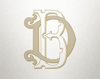 Custom Vintage Monogram - BD DB - Vintage Monogram - Digital