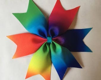Large rainbow bow, large pastel bow, large bow, spike tail bow, large hair accessory, rainbow hairbow