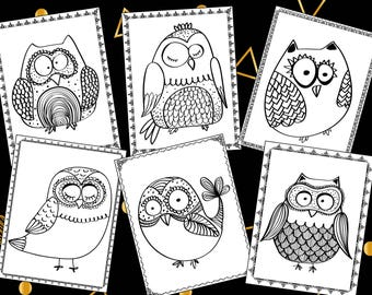 Doodle Owls Coloring Pages