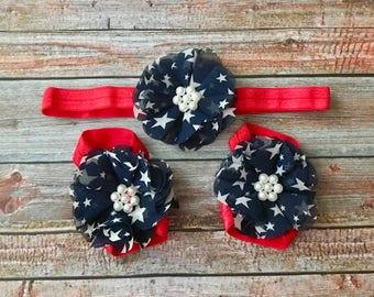 Fourth of July Headband & Barefoot Sandals Set, 4th of July Headband, Baby Headband, Patriotic Headband, Newborn Headband, Infant Headband