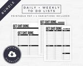 Daily + Weekly To Do List Bundle // Get Shit Done, Goal Planner, Big Happy Planner, Planner Page, Printable PDF [Instant Download]