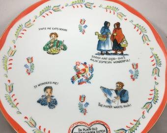 Vintage Norcrest Pennsylvania Dutch Folk Art Funny Decorative Plate