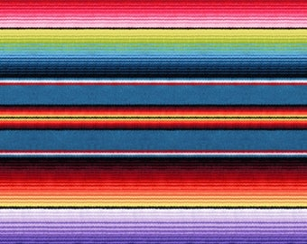 "End of Bolt, Blue Mexican Sombrero Fabric from the Fiesta Collection by Elizabeth's Studio, 21""x44"""