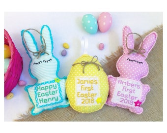 Hand sewn personalised bunting keepsakes by bakedbeanbaby easter gifts for kidsnew baby giftmy first easterbabys first easter negle Image collections