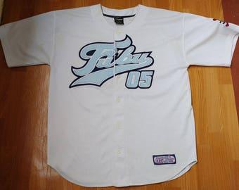 FUBU jersey, white vintage hip hop t-shirt of 90s hip-hop clothing, 1990s hip hop shirt, old school, OG, gangsta rap, size L Large