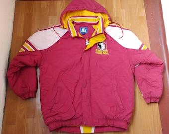 NFL STARTER Florida State Seminoles Jacket, vintage full zip coat parka, football, 90s hip-hop clothing, 1990s hip hop, nylon, size XXL 2XL