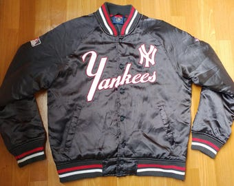 MLB Majestic New York Yankees jacket, Cooperstown Collection vintage nylon bomber, baseball 90s hip-hop, 1990s hip hop size S Small M Medium