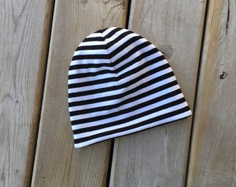Slouchy Beanie/ Slouch Beanie/ Baby Beanie/ Hipster Hat/ Slouch Hat/ Slouchy Hat/ Black and White Stripes/ Monochrome/ Baby/ Toddler/ Child