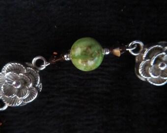 Green Jasper bracelet and swarovski crystal beads