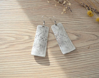 African Tuareg Rectangular Shield Earrings, Silver dangle earrings, Bohemian Ethnic Tribal earrings, silver Tuareg earrings jewelry