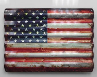 24 Inch Rustic American Flag Corrugated Metal Sign