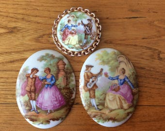 Vintage porcelain Germany courting couple cabochon Avon brooch French Fragonard courting couple scene