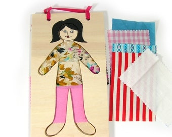 Doll Dress Up Creativity Kit, Wood and Fabric, Fashion Toy, drawn by hand.