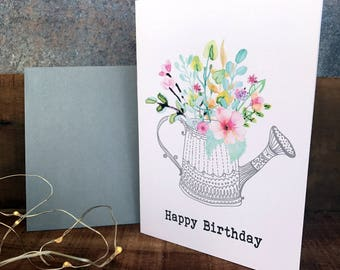 happy  birthday watercolour floral watering can birthday card, greeting card