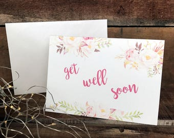 get well soon with watercolour floral design, get well card