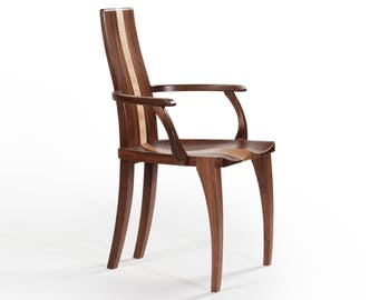 armchair dining chair with arms chair solid walnut wood carved dining