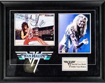 Eddie Van Halen and David Lee Roth Signed Photos in Custom Framed Case
