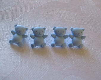 4 x buttons bear blue 15 mm x 13 mm