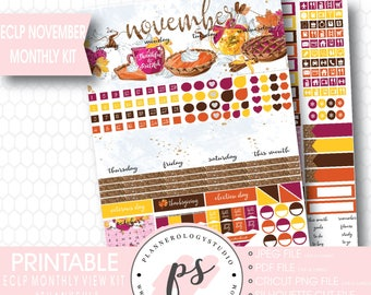 Thankful Thanksgiving November 2017 Monthly View Kit Printable Planner Stickers (for use with ECLP) | JPG/PDF/Silhouette Compatible Cut File