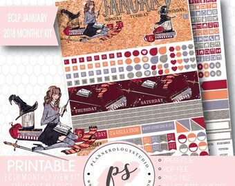Muggle Magic January 2018 Monthly View Kit Printable Planner Stickers (for Erin Condren ECLP) |JPG/PDF/Silhouette Cut File