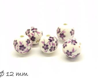 10pcs porcelain beads Ø 12 mm white purple flowers flowers