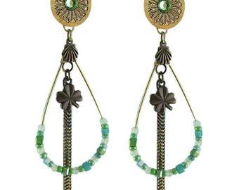Earrings clips green Eleanor (made in France)