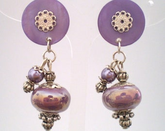 Earring clip Purple Moon (made in France)
