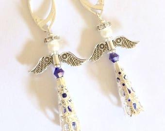 Angel Sterling Swarovski dangle earrings